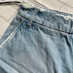 Skirts - Distressed Mini Denim Skirt